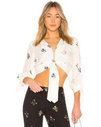 Cynthia Rowley - Praia Cropped Tie Sleeve Top In White - Lyst
