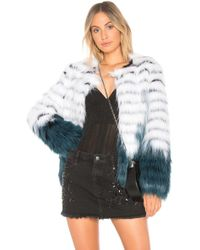 Elliatt - Felice Faux Fur Jacket In White & Teal Dip-dye - Lyst