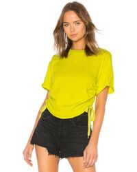 Kendall + Kylie - Ruched Tie Side Tee In Green - Lyst