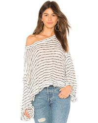 Free People - Striped Island Girl Hacci Top In White - Lyst