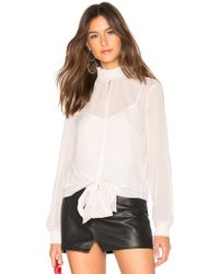 1.STATE - Long Sleeve Smocked Neck Sheer Check Blouse - Lyst