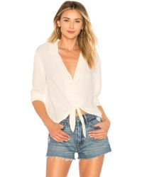 1.STATE - Ls Button Down Tie Front Blouse - Lyst