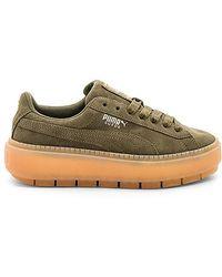 PUMA - Suede Platform Rugged Sneaker In Army - Lyst