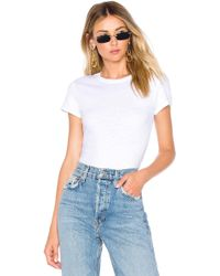 RE/DONE - 1960's Slim Tee Bodysuit In White - Lyst