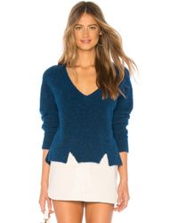 LNA - Cropped V Neck Alpaca Sweater In Blue - Lyst