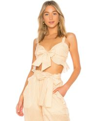 Nicholas - X Revolve Voile Tie Front Top In Yellow - Lyst