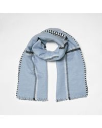 River Island - Blue Check Double-sided Scarf - Lyst