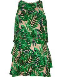River Island - Green Leaf Jacquard Tiered Frill Playsuit Green Leaf Jacquard Tiered Frill Playsuit - Lyst