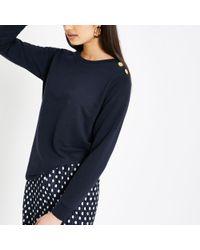 River Island - Navy Button Shoulder Sweatshirt - Lyst