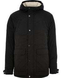 River Island - Big And Tall Black Hooded Fleece Lined Coat - Lyst