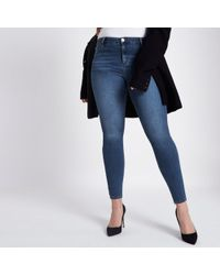 River Island - Plus Dark Blue Molly Jeggings - Lyst
