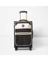 River Island - Black Tweed Four Wheel Suitcase Black Tweed Four Wheel Suitcase - Lyst