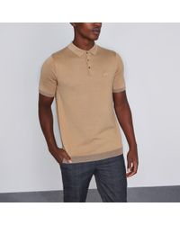 River Island - Tan Slim Fit Short Sleeve Knitted Polo Shirt - Lyst