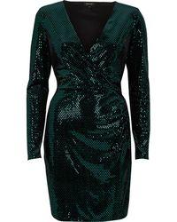 River Island - Green Sequin Metallic Wrap Bodycon Dress - Lyst