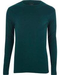 River Island - Teal Green Slim Fit Long Sleeve Rib T-shirt - Lyst