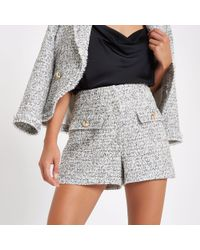 River Island - Check Boucle Short - Lyst