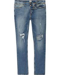 River Island - Blue Wash Ripped Sid Skinny Jeans - Lyst