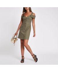 River Island - Khaki Button Down Bardot Midi Dress - Lyst