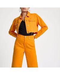 River Island - Orange Raw Hem Cropped Denim Jacket - Lyst