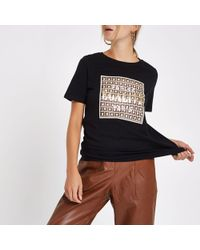 River Island - 'egalite' Front Print T-shirt - Lyst