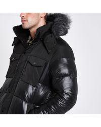 River Island - Faux Fur Trim Hooded Long Puffer Jacket - Lyst