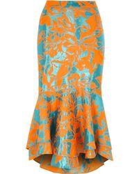 River Island - Orange Jacquard Flute Hem Pencil Skirt Orange Jacquard Flute Hem Pencil Skirt - Lyst