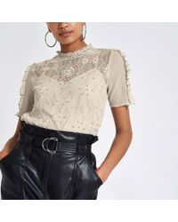 River Island - Grey Lace Beaded High Neck Top - Lyst
