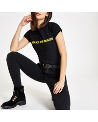 River Island - Black 'i Make The Rules' T-shirt - Lyst