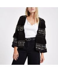 River Island - Black Sequin Fringe Trophy Jacket - Lyst