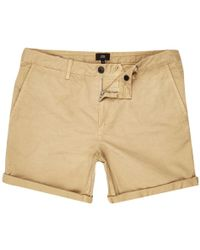 River Island - Light Brown Rolled Hem Chino Shorts - Lyst