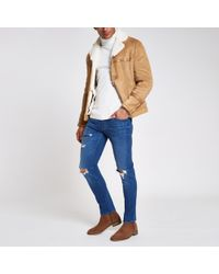 River Island - Mid Blue Dylan Slim Stretch Ripped Jeans - Lyst