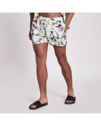 River Island - White Floral Swim Shorts - Lyst