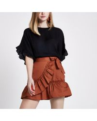 River Island - Rust Orange Poplin Frill Wrap Mini Skirt - Lyst