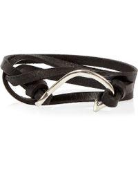 River Island - Black Leather Hook Wrist Wrap - Lyst