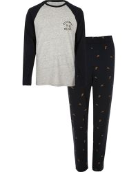 River Island - Grey Pizza Print Pyjama Set - Lyst