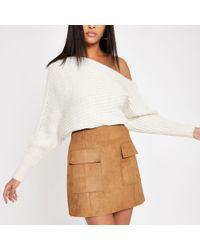 River Island - Light Suede Mini Skirt - Lyst