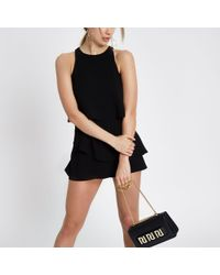 River Island - Black Tiered Frill Playsuit - Lyst