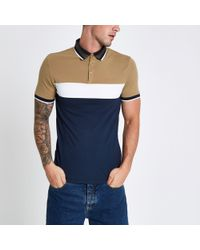 River Island - Block Print Muscle Fit Polo Shirt - Lyst