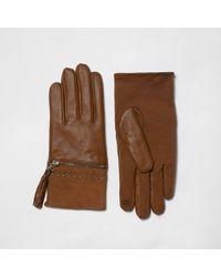 River Island - Tan Suede Tassel Zip Gloves - Lyst