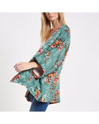 River Island - Turquoise Floral Print Cropped Kimono - Lyst