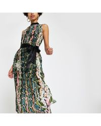 River Island - Forever Unique Snake Pleated Midi Dress - Lyst