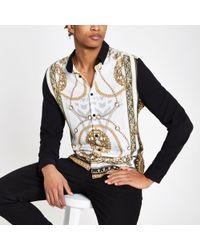 River Island - Baroque Print Blocked Long Sleeve Shirt - Lyst