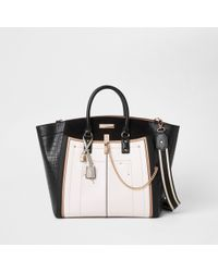 River Island - Black Large Winged Contrast Tote Bag - Lyst