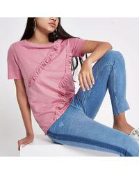 River Island - Ruffle Crew Neck T-shirt - Lyst