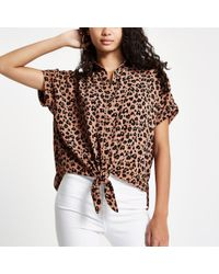 River Island - Brown Leopard Printed Tie Front Shirt - Lyst