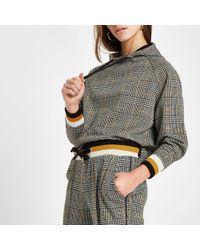 River Island - Petite brown check long sleeve hoodie - Lyst