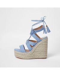 River Island - Blue Stripe Tie-up Espadrille Wedges - Lyst