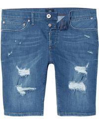 River Island - Big And Tall Blue Skinny Ripped Denim Shorts - Lyst