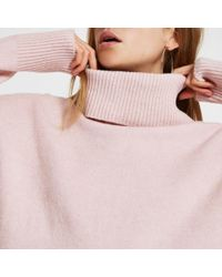 River Island - Oversized Roll Neck Sweater - Lyst
