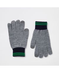 River Island - Grey Knitted Gloves - Lyst